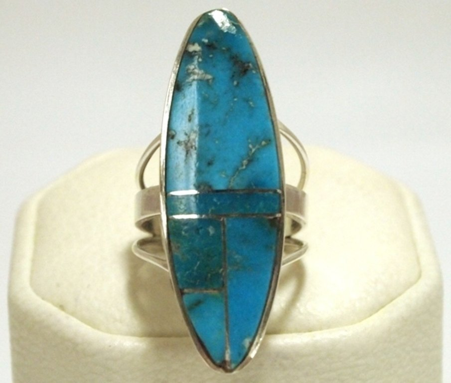 Navajo Turquoise Inlay Sterling Silver Women's Ring - H