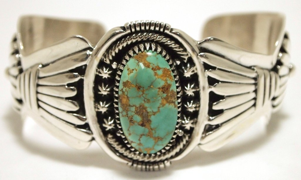 Old Pawn Navajo Persian Turquoise Sterling Silver Cuff