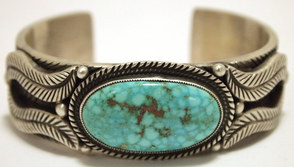 Old Pawn Navajo Kingman Turquoise Sterling Silver Cuff