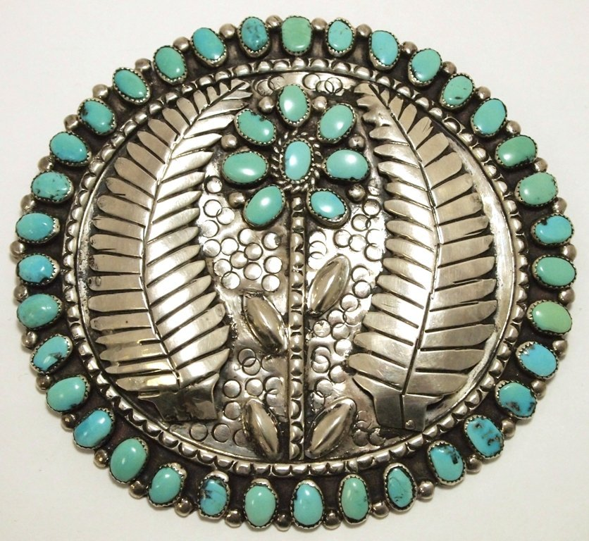 Old Pawn Navajo Turquoise Sterling Silver HUGE Flower P