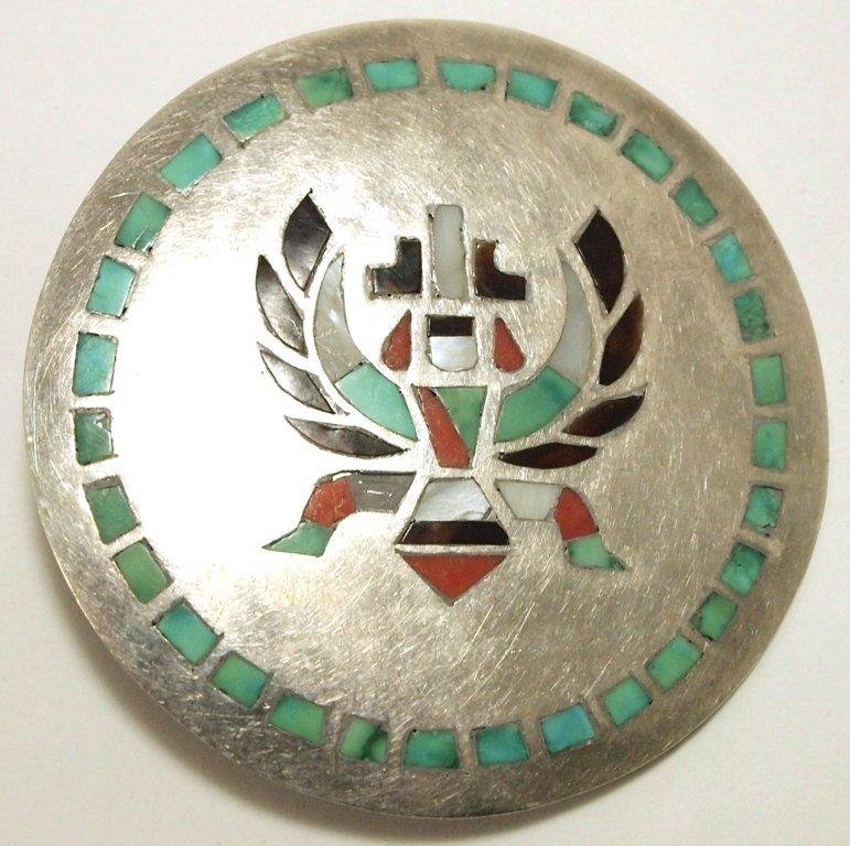 Old Pawn Zuni Multi-Stone Inlay Knifewing Kachina Sterl