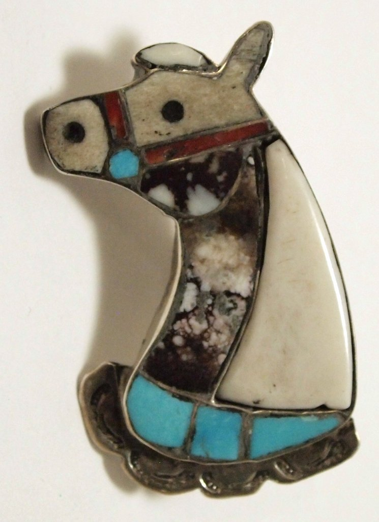 Old Pawn Zuni Multi-Stone Inlay Horse Sterling Silver P