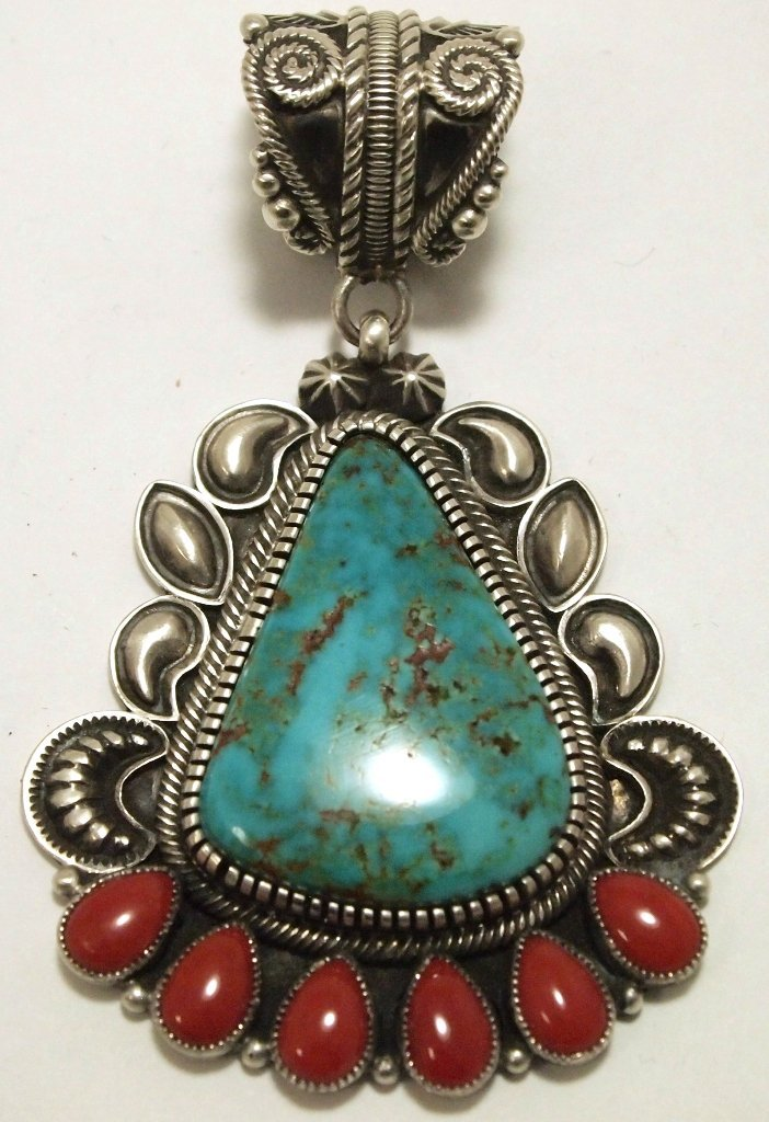 Old Pawn Navajo Coral & Turquoise Sterling Silver Penda