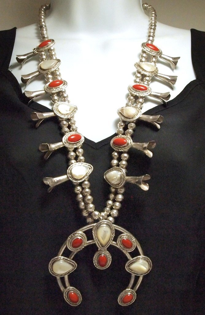 Old Pawn Navajo Mother of Pearl & Coral Sterling Silver