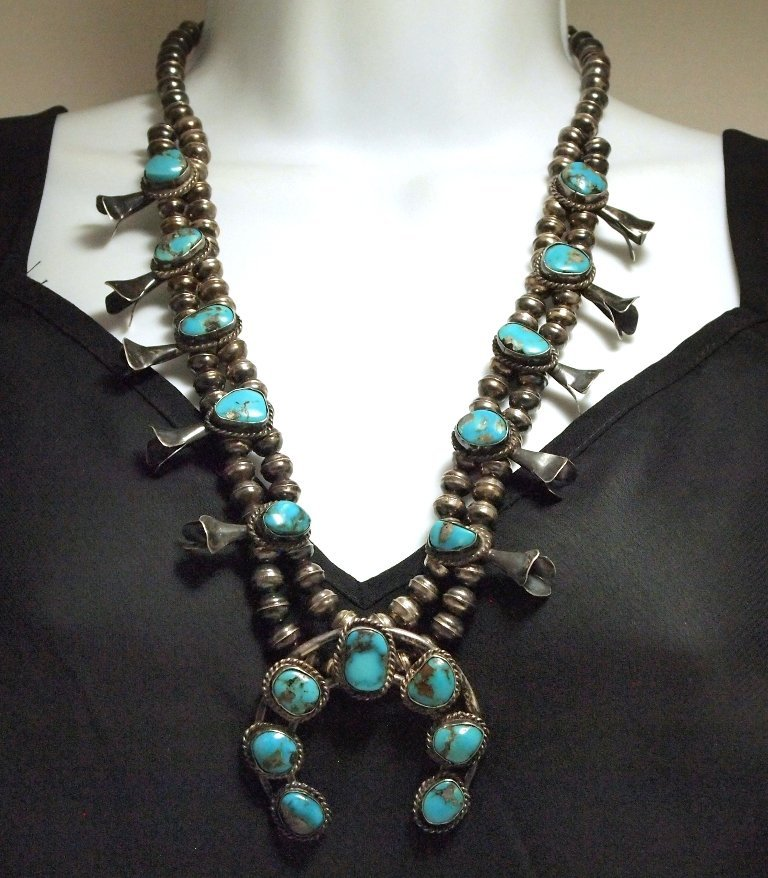 Vintage Old Pawn Navajo Turquoise Sterling Silver Squas