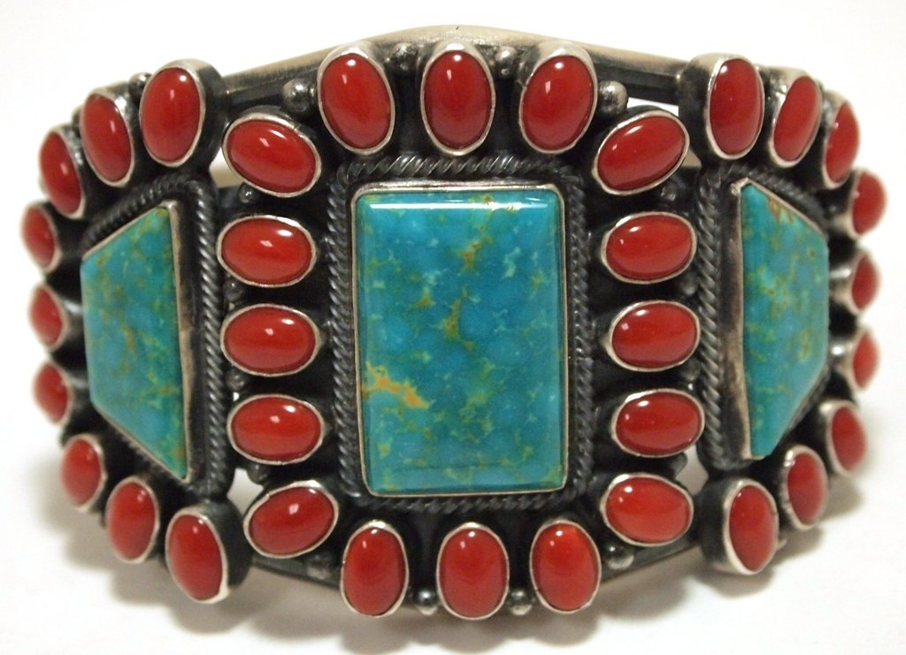 Old Pawn Navajo Coral & Turquoise Sterling Silver Cuff
