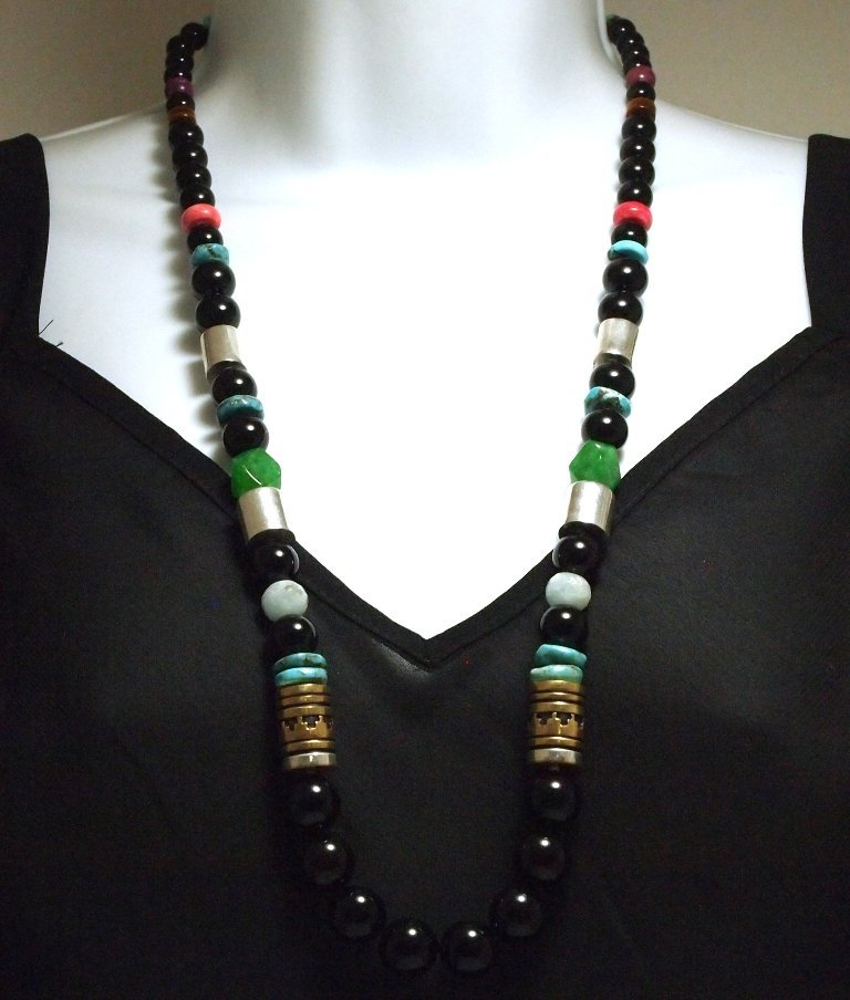 Navajo Onyx & Multi-Stone Sterling Silver Necklace - To