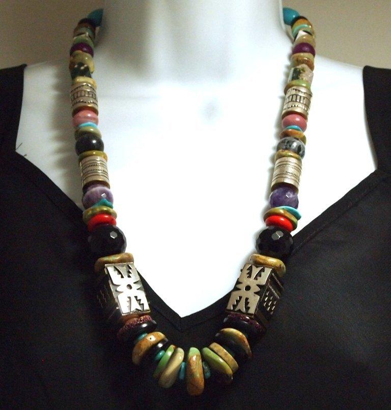 Navajo Green Mountain Turquoise & Multi-Stone Necklace