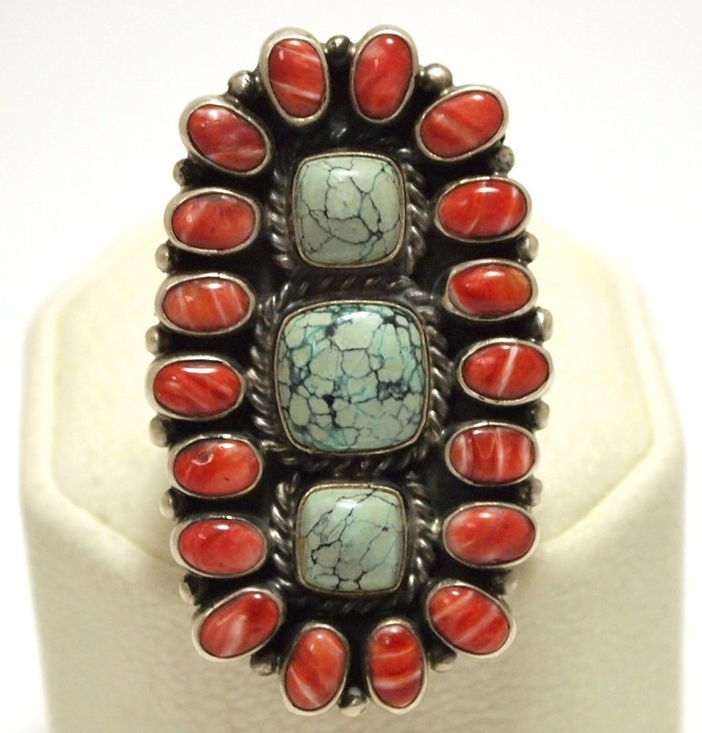 Old Pawn Navajo Coral & Turquoise Sterling Silver Men's