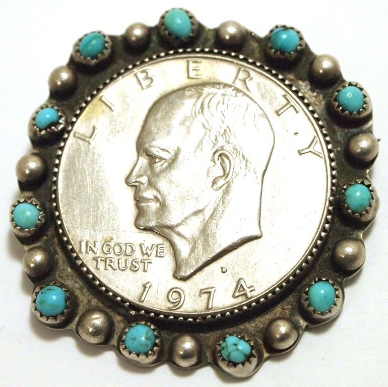 Old Pawn Navajo Turquoise Sterling Silver Eisenhower Si