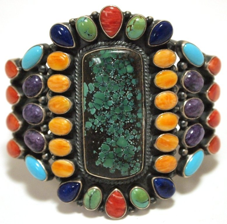 Old Pawn Navajo Multi-Stone Sterling Silver Cuff Bracel