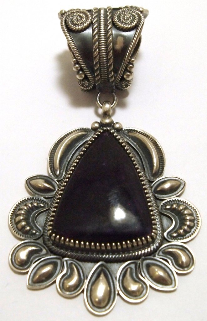 Old Pawn Navajo Dark Sugilite Sterling Silver Pendant -