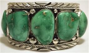 Navajo Broken Arrow Turquoise Sterling Silver Cuff Brac