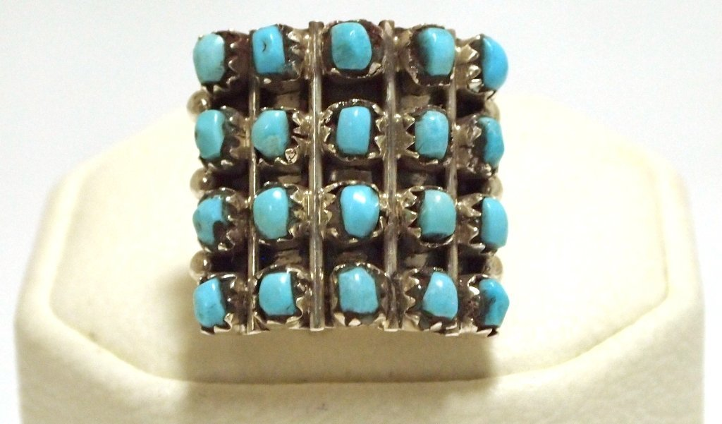 Navajo Turquoise Dots Sterling Silver Women's Ring - Ir