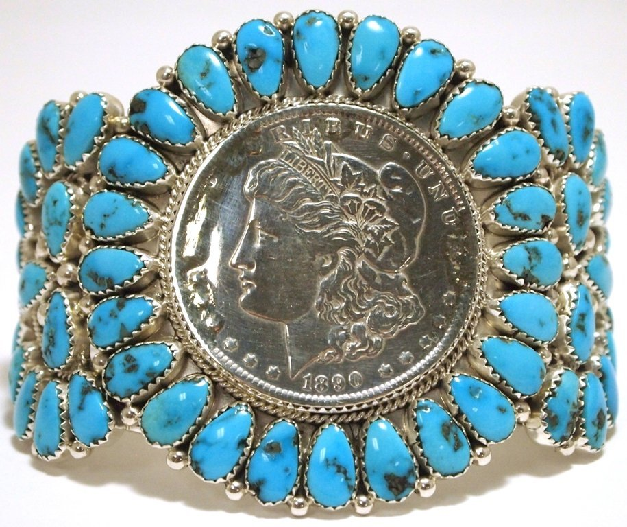 Old Pawn Navajo Turquoise Morgan Dollar Sterling Silver