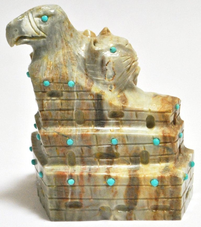 Zuni Picasso Marble & Turquoise Eagle Cat & Anteater Fe