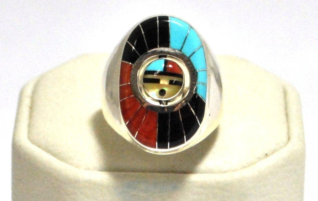 Zuni Multi-Stone Spinner Sunface Sterling Silver Men's