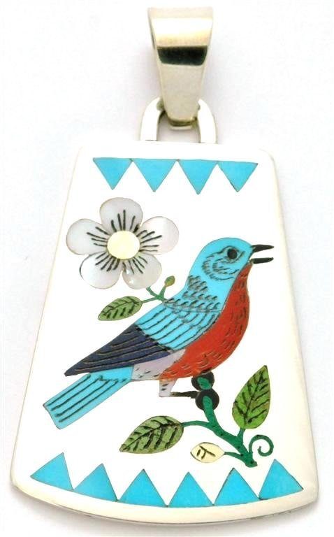 Zuni Multi-Stone Large Bird Design Pendant - Rudell & N