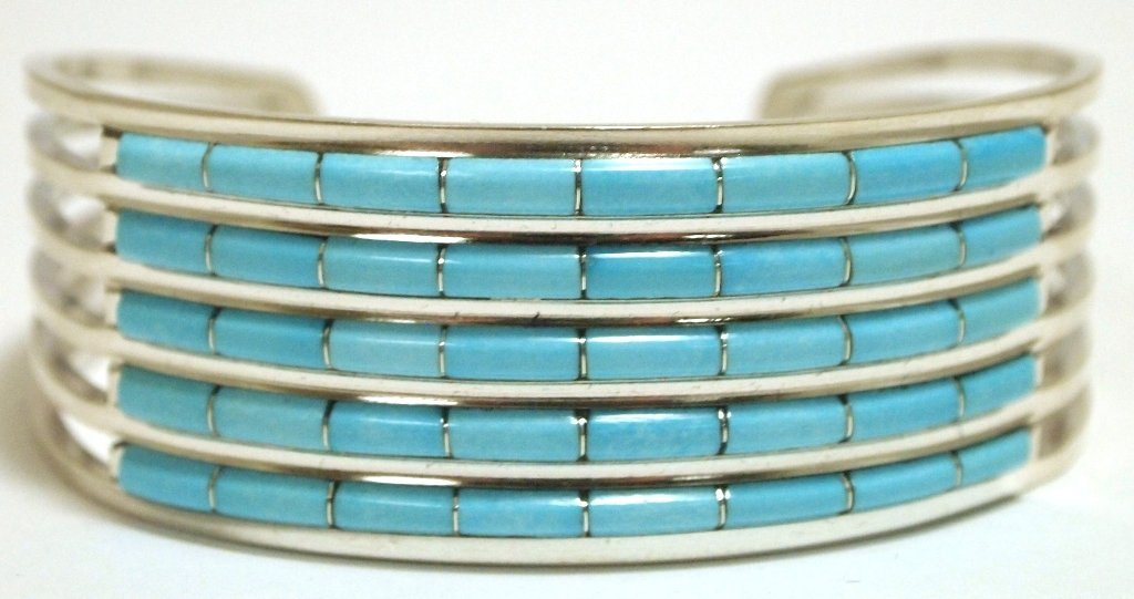 Zuni Turquoise Channel Inlay Sterling Silver Cuff Brace