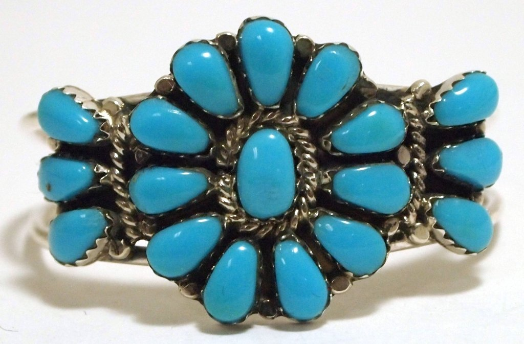 Navajo Turquoise Sterling Silver BABY Cuff Bracelet - L