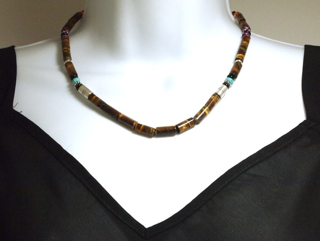 Navajo Tiger's Eye & Multi-Stone Necklace - Tommy Singe