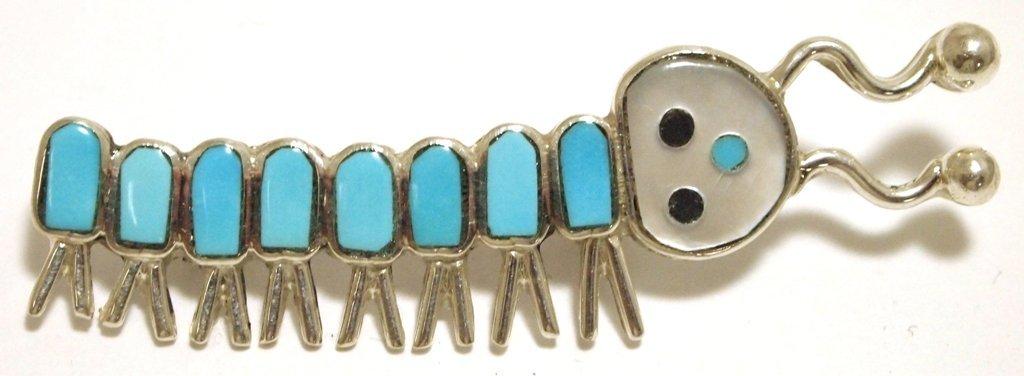 Zuni Multi-Stone Inlay Caterpillar Sterling Silver Pin