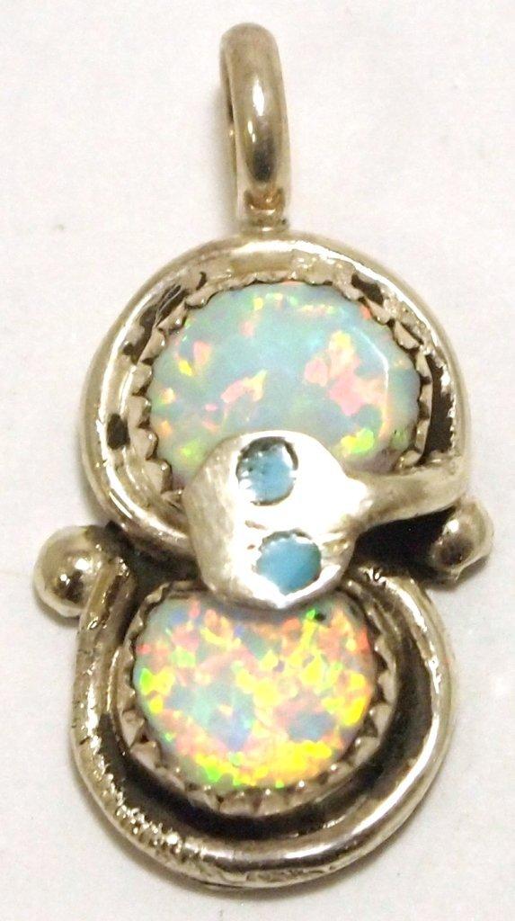 Zuni Opal Sterling Silver Snake Charm Pendant - Effie C
