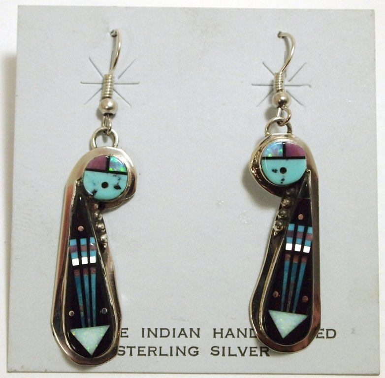 Navajo Multi-Stone Sun Face Inlay Sterling Silver Frenc