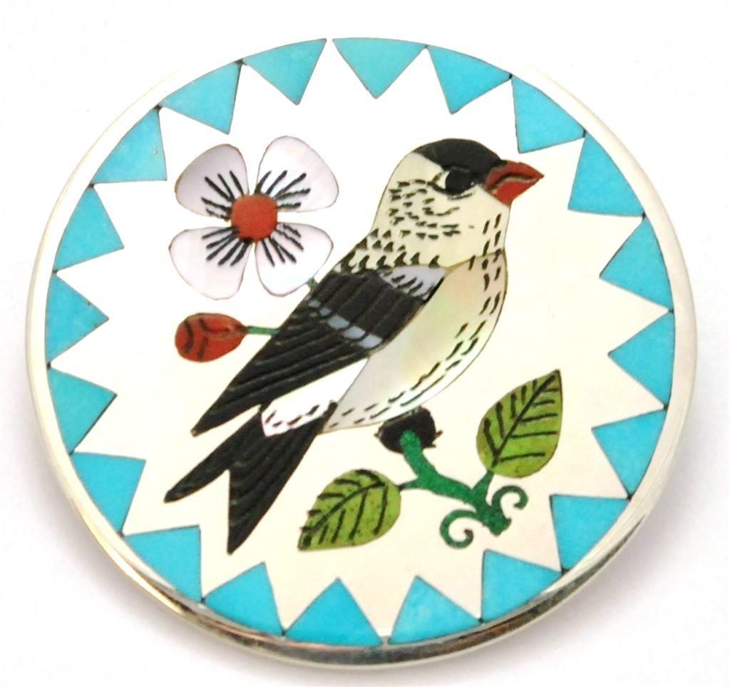 Zuni Multi-Stone Medium Bird Pendant & Pin - Rudell & N