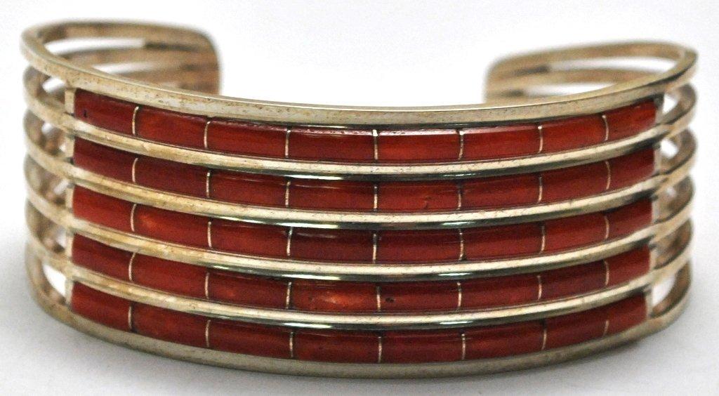 Zuni Red Spiny Oyster Sterling Silver Bracelet - A.L.W.
