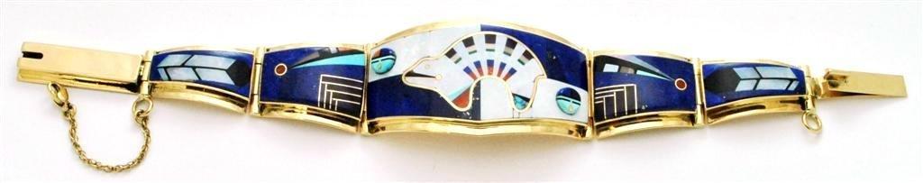 Navajo Multi-Stone Inlay Bear 14k Gold Link/Cuff Bracel