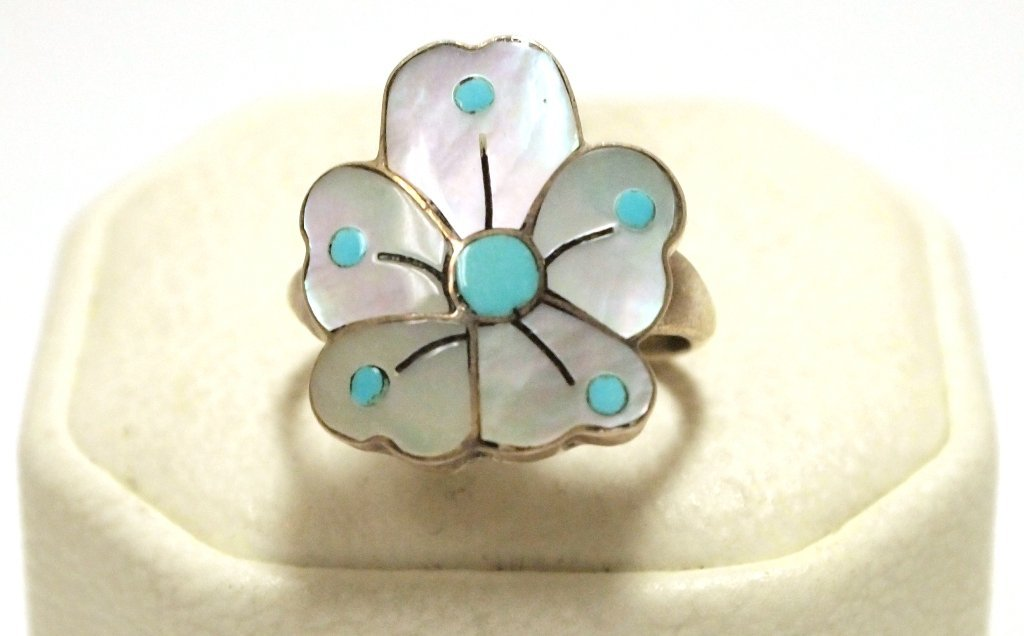 Old Pawn Zuni Mother of Pearl & Turquoise Sterling Silv