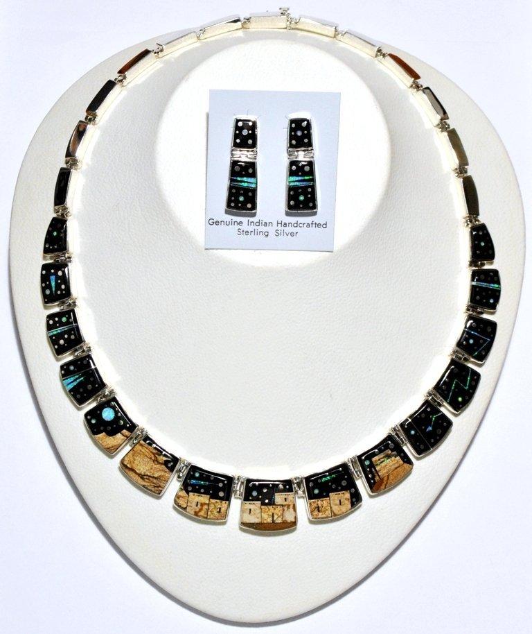 Navajo Pueblo Sterling Silver Necklace & Earrings Set -
