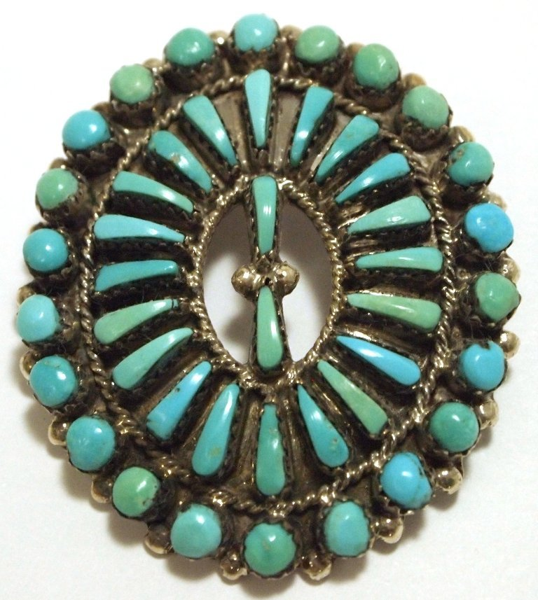 Old Pawn Navajo Turquoise Sterling Silver Pendant & Pin