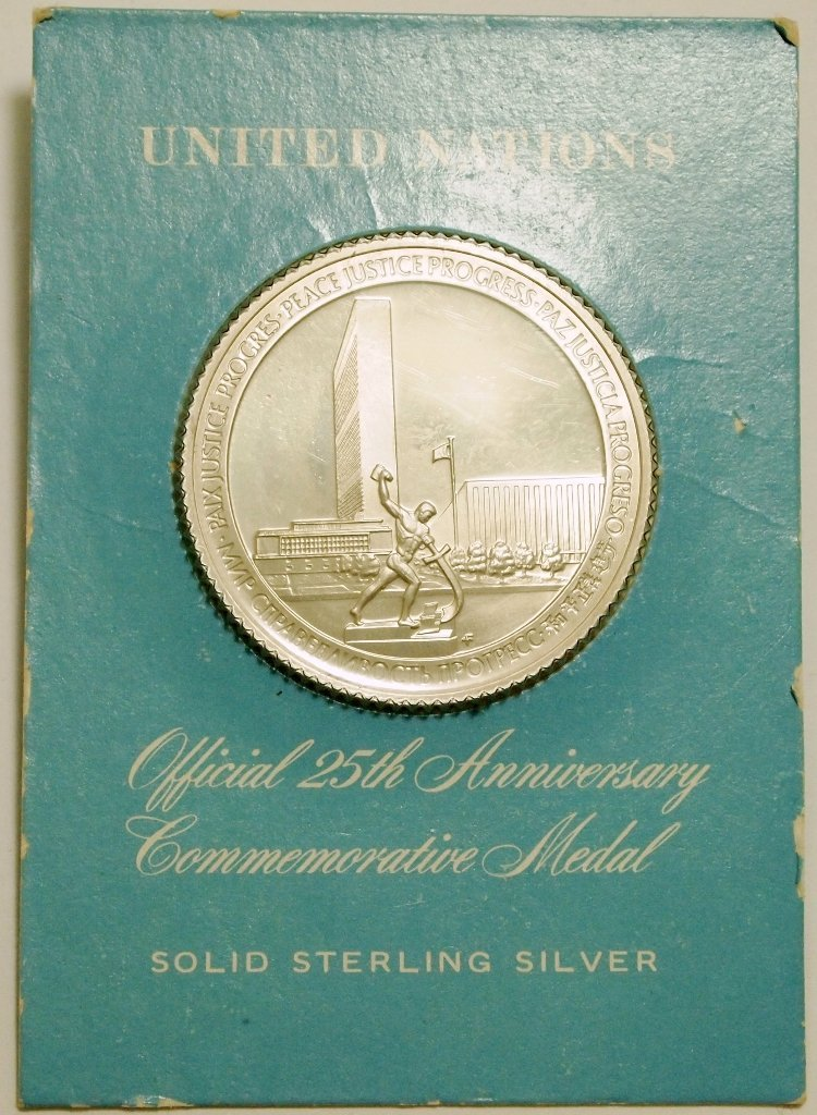 Sterling Silver United Nations Official 25th Anniversar