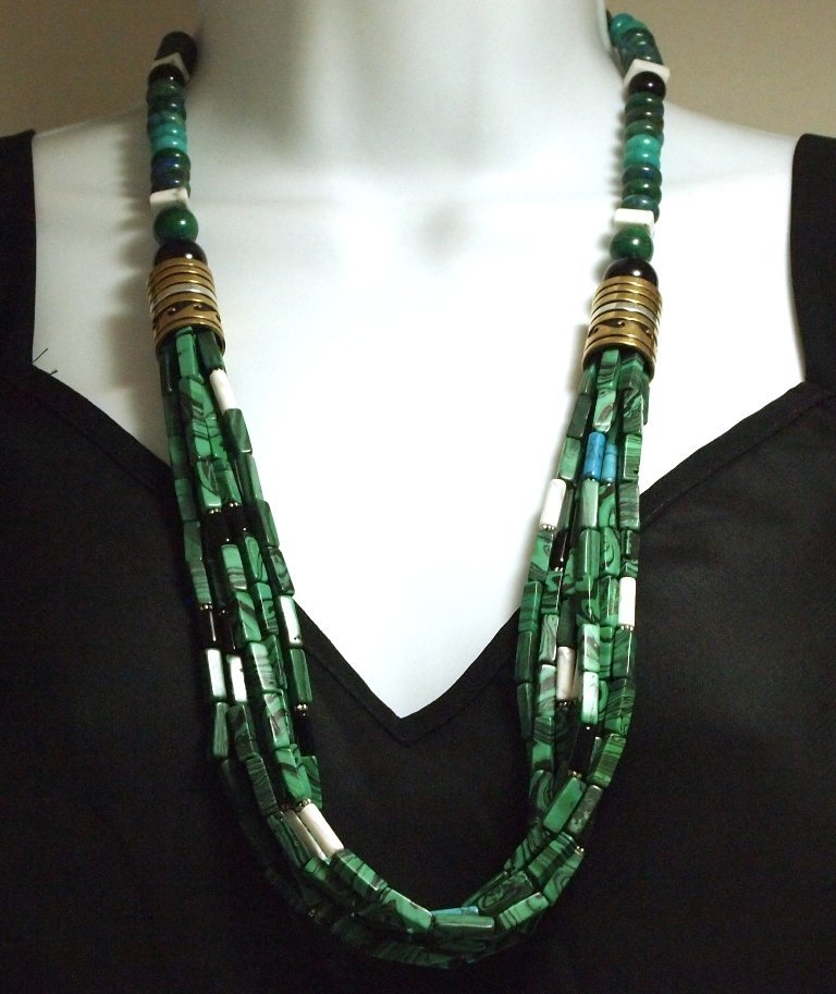 Navajo Malachite & Multi-Stone 7-Strand Necklace - Tomm