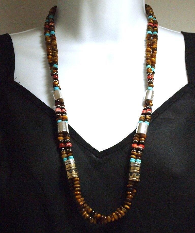 Navajo Tiger's Eye & Multi-Stone 2-Strand Necklace - To