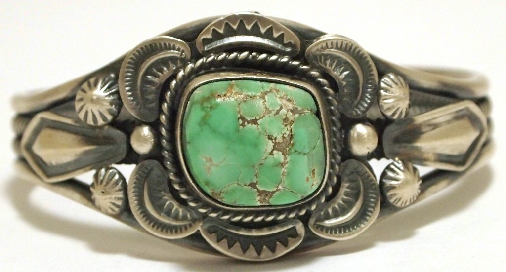 Old Pawn Navajo Carico Lake Turquoise Sterling Silver C