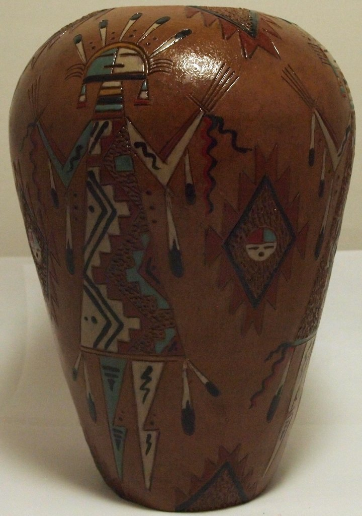 Navajo Etched Painted & Finished Yei Pottery - Nancy Ch