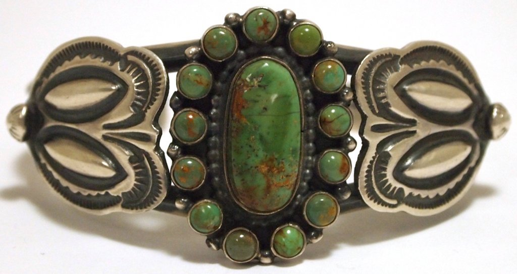 Old Pawn Navajo King's Manassa Turquoise Sterling Silve