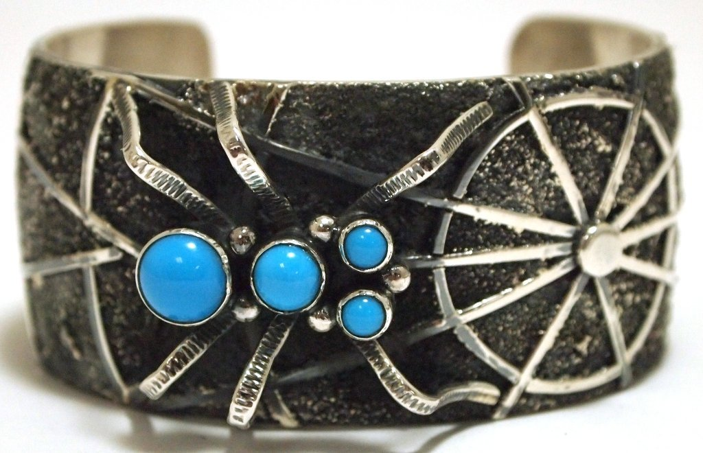Navajo Turquoise Sterling Silver Spider & Web Cuff Brac