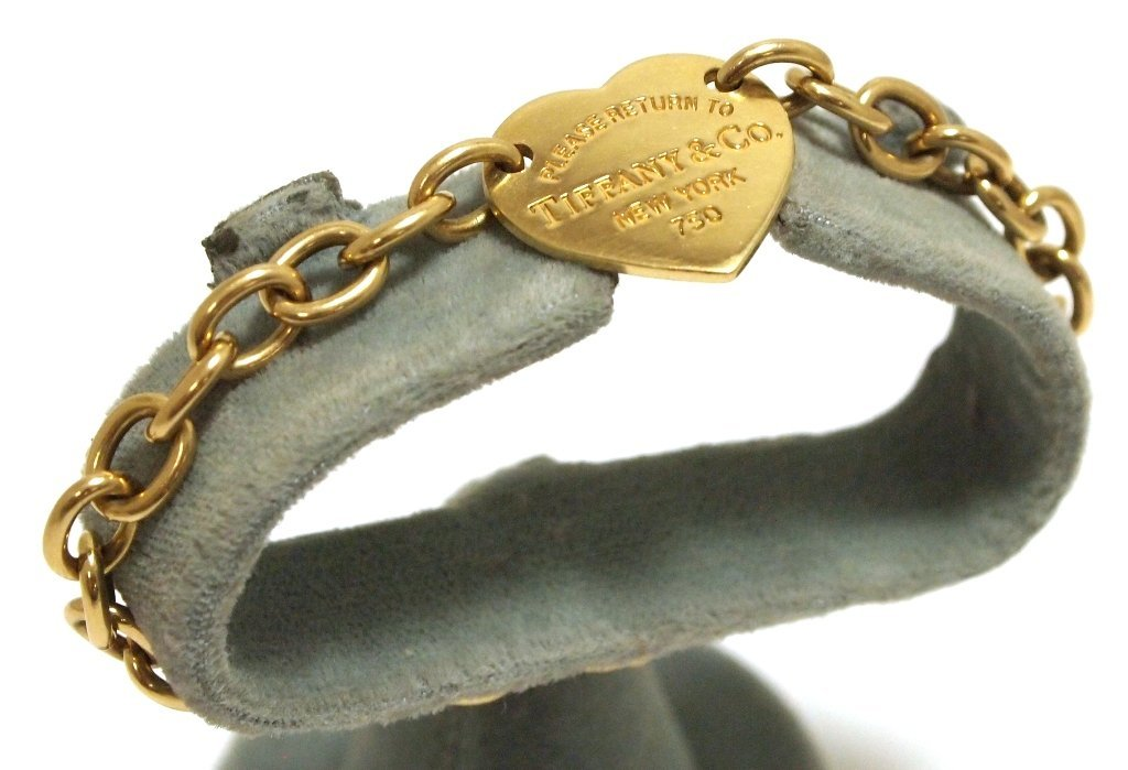 Old Pawn 18k Gold 750 Heart Link Bracelet - Tiffany & C