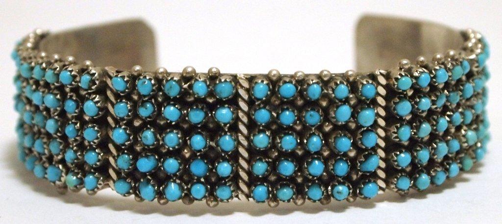 Zuni Turquoise Dots Sterling Silver Cuff Bracelet - Pet
