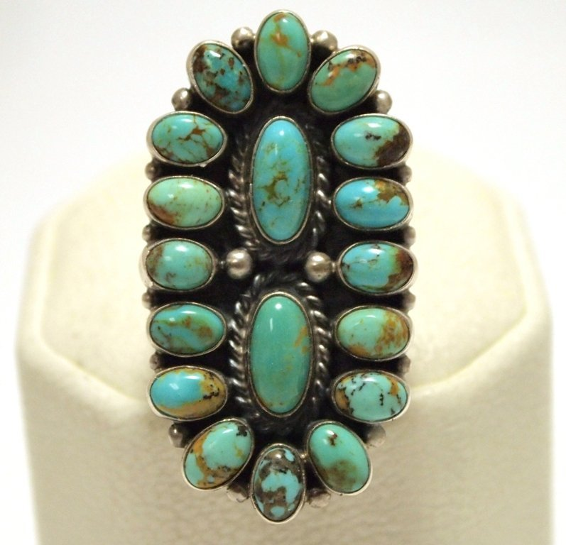 Old Pawn Navajo Turquoise Sterling Silver Women's Ring