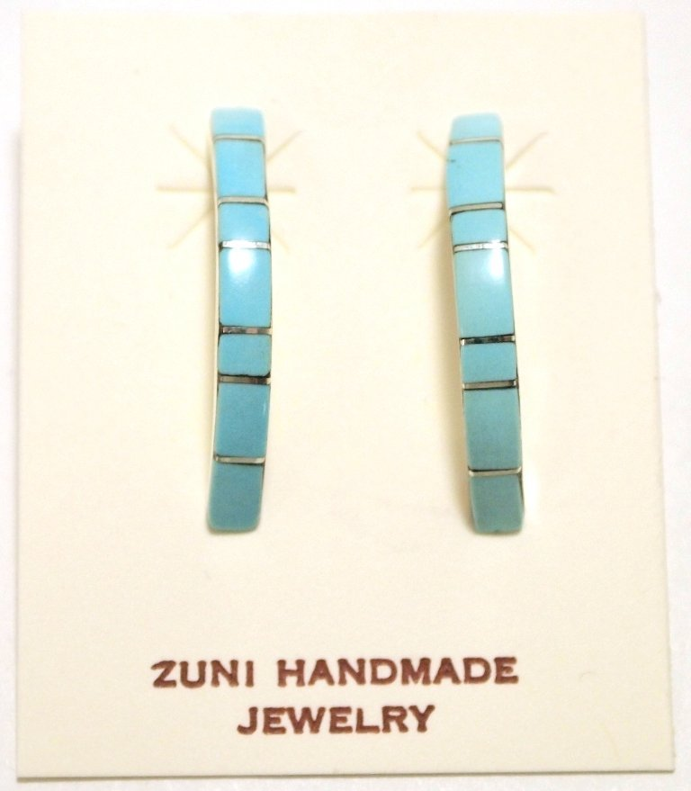 Zuni Turquoise Inlay Sterling Silver 1/4-Ring Post Earr