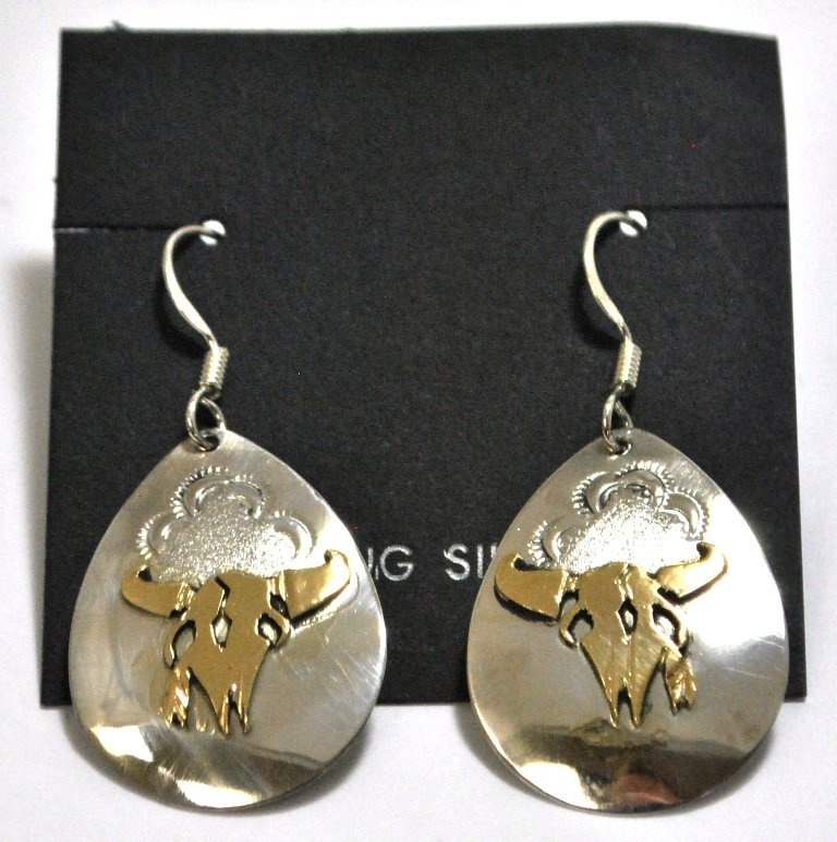 Navajo 12k Gold Filled Bull Skull Sterling Silver Frenc
