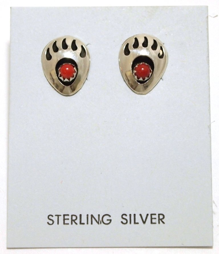 Navajo Coral Sterling Silver Bear Paw Post Earrings - G