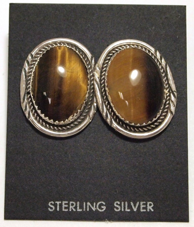 Navajo Tiger's Eye Sterling Silver Post Earrings - Herm