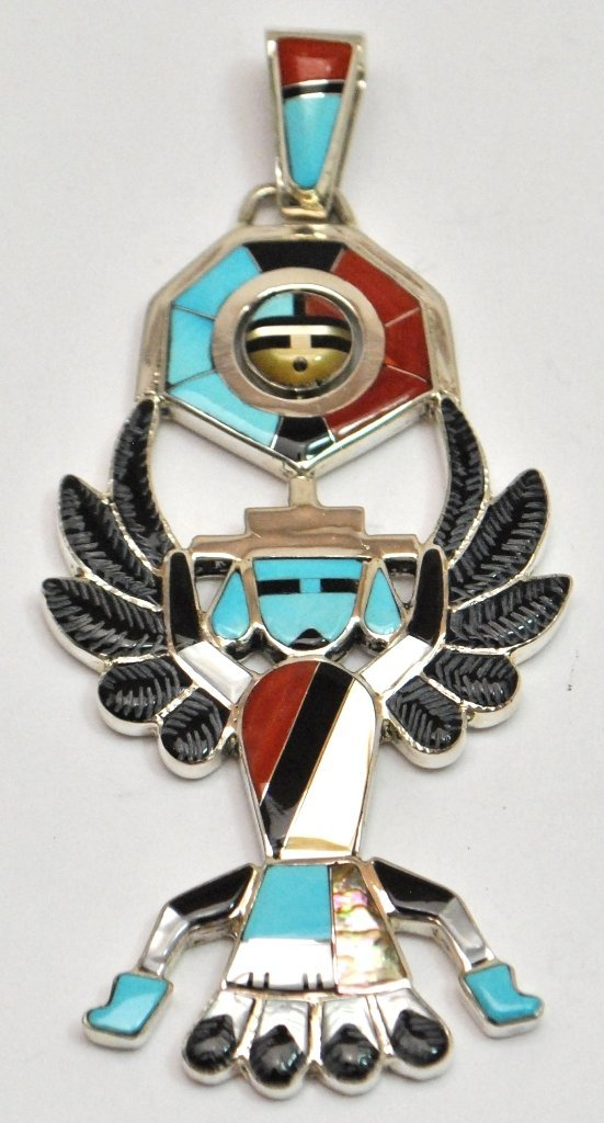 Zuni Multi-Stone Eagle Dancer Sterling Silver Spinner P