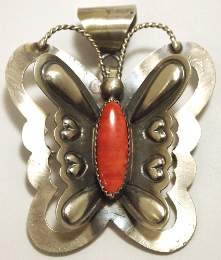Navajo Spiny Oyster Sterling Silver Butterfly Pendant &